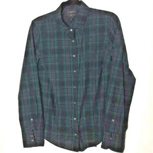 J Crew Perfect Button Front Shirt Blue Green plaid